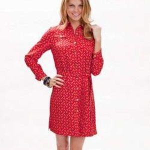 Elizabeth McKay Silk Shirt Dress Red Bit Print 4